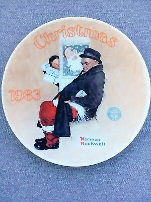 "Norman Rockwell ""Santa in the Subway"" 1983 Christmas Collector Plate"