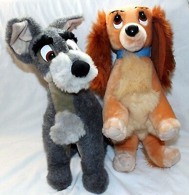 """Disney Store Lady and the Tramp Plush Set Large 17"""" RARE Stuffed Toys w/ tags"""