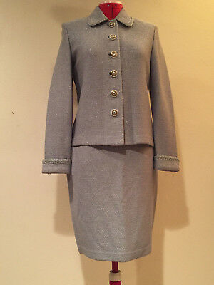 ST. JOHN COUTURE by Marie Gray, SILVER GRAY SHIMMER KNIT SKIRT SUIT, Ladies Sz 2