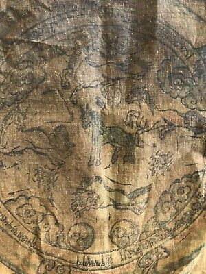 ANTIQUE  TIBET MONGOLIAN BUDDHIST HAND DRAWN PICTURE on COTTON.