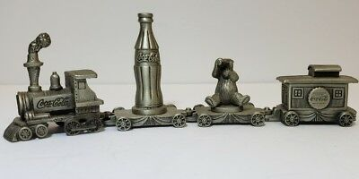 Coca-Cola 4 piece pewter train 1995 Great condition Coke