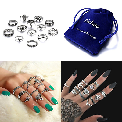 13Pcs Bohemian Vintage SILVER Punk Ethnic Stack Rings Crystal Knuckle Joint Nail