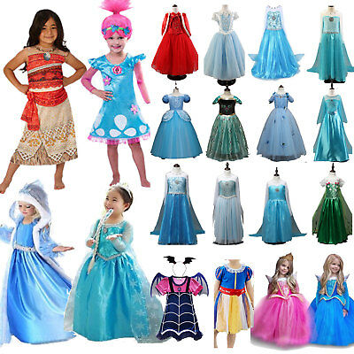 Princess Elsa Frozen Anna Dress Fancy Costume Girls Party Cosplay Halloween US