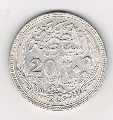 1917  Egypt 20 Piastres Coin Vf