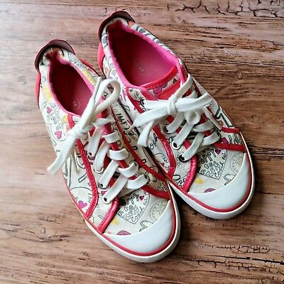 Coach Barrett Poppy Sneakers Womens Pink White Lace Up Hearts Shoes Sz 5.5
