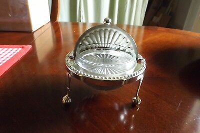 Antique  Butter Dome Made In England Silverplated And 3 Footed Glass Dish Inside