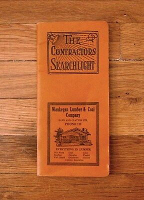 Vtg 1922 THE CONTRACTOR'S SEARCHLIGHT Estimate Forms, Tables WAUKEGAN LUMBER