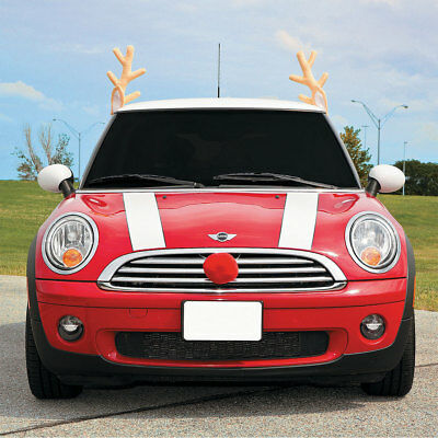 christmas car reindeer costume antler truck suv decorating kit red nose