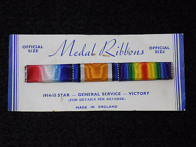 WWI British Army 1914-15 Star, General Service, & Victory Full Ribbon Bar