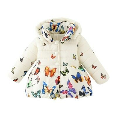 Toddler Baby Girls Winter Warm Cotton Coat Butterfly Jacket Outerwear Tops 0-24M