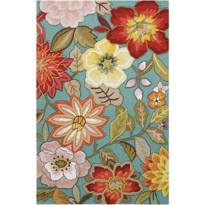 Area Rug Spring Blossom Aqua 4 ft. x 6 ft.Rectangle Synthetic Tufted Carpet New