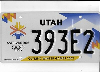 "UTAH passenger 2002 license plate ""393E2"" ***MINT***SALT LAKE CITY OLYMPICS****"