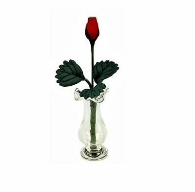 Miniature Dollhouse Fairy Garden Single Red Rose in Glass Vase - Buy 3 Save $5