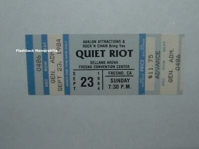 QUIET RIOT Unused 1984 MINT Concert Ticket FRESNO SELLAND ARENA Very Rare BLUE