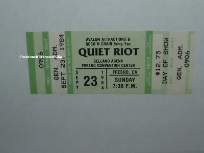 QUIET RIOT Unused 1984 MINT Concert Ticket FRESNO SELLAND ARENA Very Rare GREEN