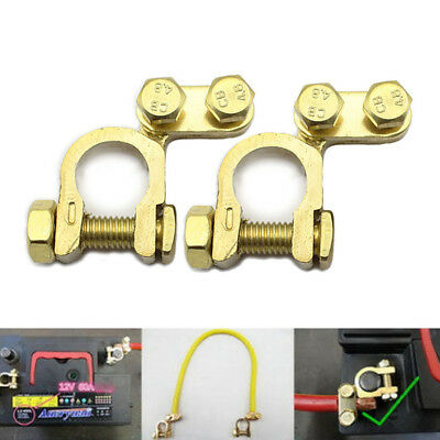 2pcs/pair New Auto Car Replacement Battery Terminal Clamp Clips Brass Connector