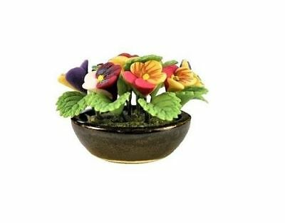 Miniature Dollhouse Fairy Garden Pansies in Ceramic Bowl - Buy 3 Save $5