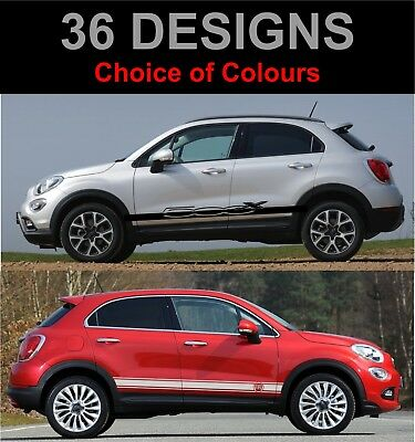 Fits Fiat 500x Side Racing Stripes Car Stickers Decals Rally