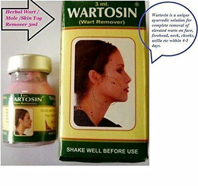 2 X Wartosin Herbal Wart Remover Elevated Mole Skin Tag Removal 3ml
