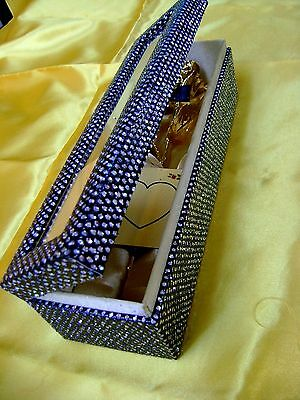 "VALENTINE GIFT - 11"" 24K Gold Dipped Real Rose in Obsidian Black Egyptian Casket"