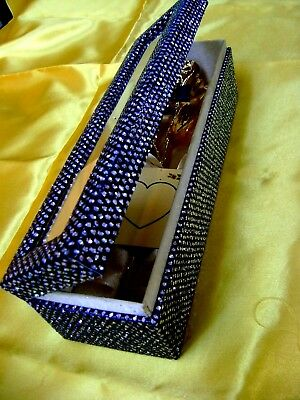 11 Inch 24K Gold Dipped Real Rose in a Obsidian Black Egyptian Casket w/WINDOW