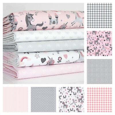 Sweet Unicorn Pink Grey 100% Cotton Fabric Stripe Bow Gingham Star OEKO-TEX