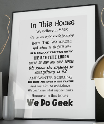 Geek Family Quote Poster Art Print A3 A4 A5 A6 Decor Gift Wall Xmas Potter Magic