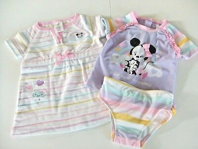 NWT Disney Store Minnie Mouse Sz 12-18 or 18-24 M Swimsuit & Terry Coverup Swim