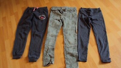 Girl's 3 Pairs of Green / Grey Trousers / Leggings Various Bundle - Age 12