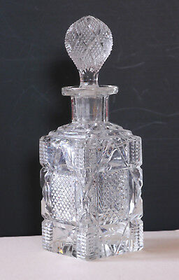 Antique/vintage finely cut glass perfume bottle, ABP? Pressed-glass stopper