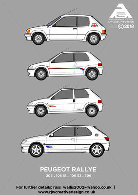 Peugeot 205, 106 & 306 Rallye classic car collection Poster Art