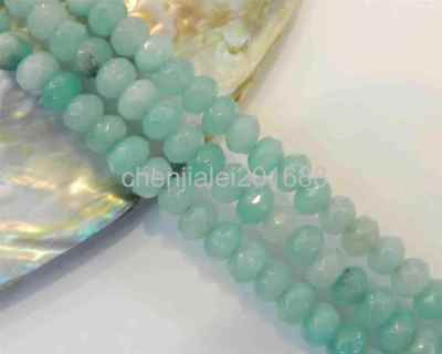 4X6mm Light Blue Faceted Brazilian Aquamarine Loose Beads 15""