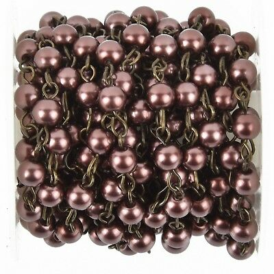 1 yard MAROON BURGUNDY Rosary Chain, BRONZE wire, 6mm round glass beads fch0951a