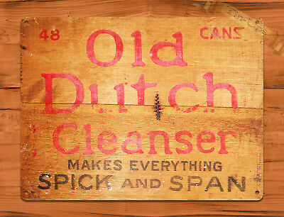 "TIN SIGN ""Old Dutch Cleanser"" NOT WOOD Crate Rustic Home Kitchen Decor"