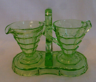 Indiana Glass Tea Room Green Depression Glass Art Deco Cream Sugar Stand 1920's