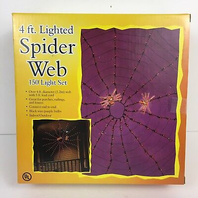Decoration 4 Ft Lighted Spider Web 150 Purple Lights Porch Fence Decor