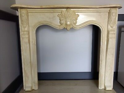 Antique Marble Fireplace - Ivory/Cream/Beige - Mantle, Surround and Hearth