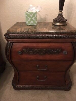 Furnture 2 Wood Nightstand with Marble Top