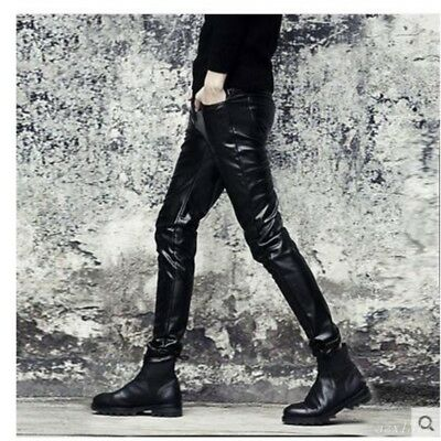 Mens Slim Fit PU Leather Pants Casual Pencil Trousers Nightclub Driving Punk