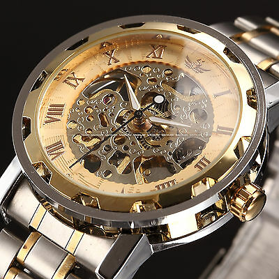 Men Classic Stainless Steel Watch Transparent Steampunk Skeleton Mechanical