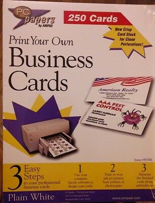 PC Papers by AMPAD - Print your own Business Cards - 250 - Plain White - NEW