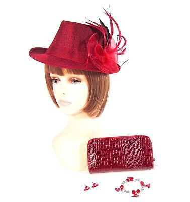 45c9802fa5ff0 Red Fedora Hat Removable Pin Clip   Earring Bracelet Wallet Set Society  Ladies