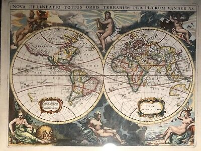 Orbis terrarum typus leather wall hangingno hanging rods 199 world map hand colored circa 1720 framed 18th century painting gumiabroncs Images