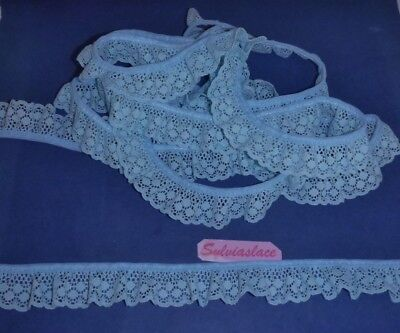 3 metres   of  Pretty  Blue    Cotton   Look    Gathered  Lace      30  mm  wide