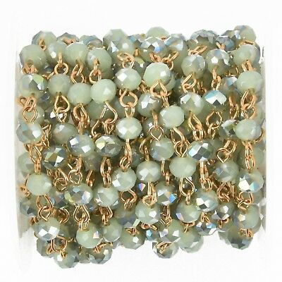 1 yard SPRING GREEN Ab Rosary Chain, GOLD wire, 6mm round glass beads, fch0962a