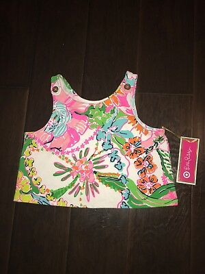 New Lilly Pulitzer Target Mosey Posey Crop Top Small 6/6X Girls Tank Floral NWT