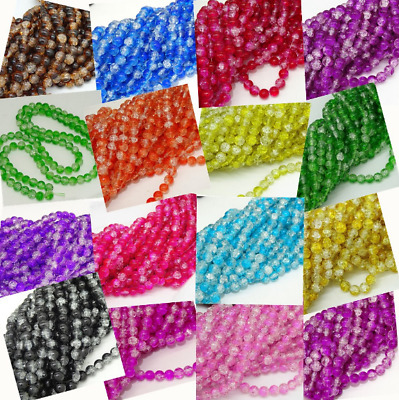 Wholesale 12mm 10-100pcs Crackle Glass Bead Round Clear Crystal Charm Beads