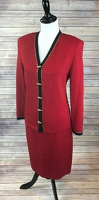 St. John Evening by Marie Gray Red Skirt Suit Set Gold Buttons Size 8 Stretchy