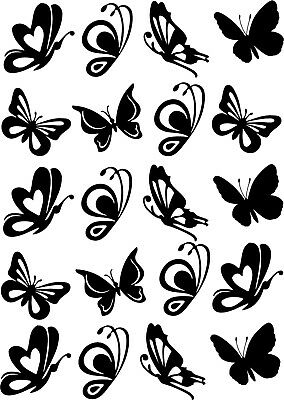 Decal mixed butterflies Sticker X20 in total  use on wall, tiles, car, glass,