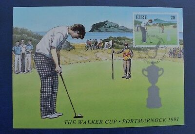 The Walker Cup Portmarnock Ireland 1991. First Day Cover Postcard